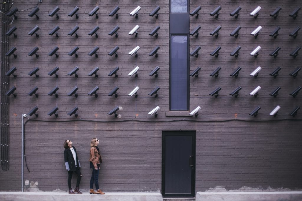 surveillance cameras aimed at passers-by