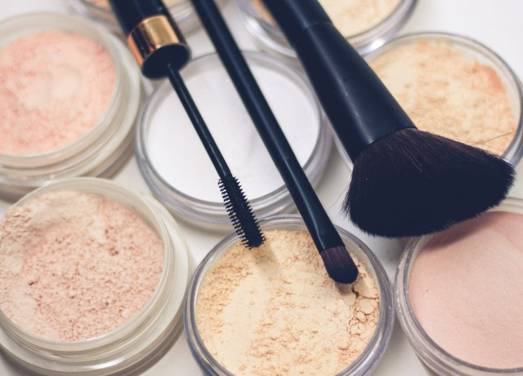 Cosmetics with powder and blush